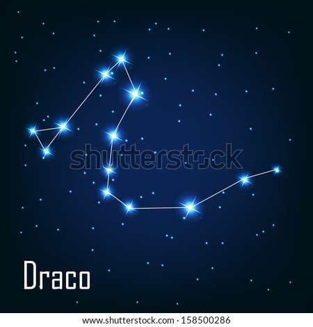 """The constellation """" Draco"""" star in the night sky. Vector illustration - stock vector"""