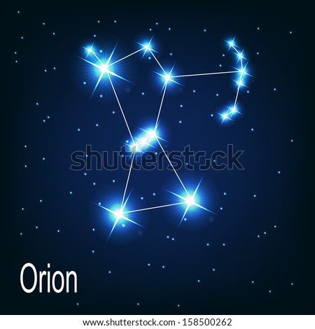 """The constellation """"Orion"""" star in the night sky. Vector illustration - stock vector"""