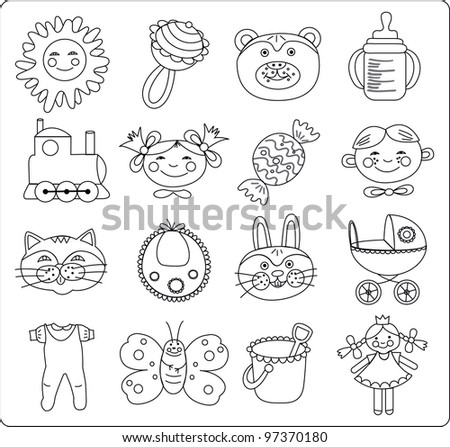 the contours of a children's icon for coloring - stock vector