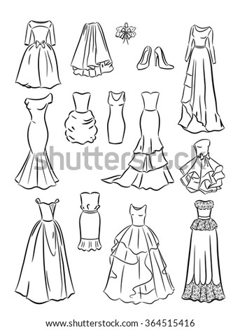 The contours of wedding dresses isolated on white background - stock vector