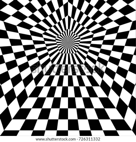 The contrast abstract black and white geometric pattern with stripes and pentagons a optical psychedelic