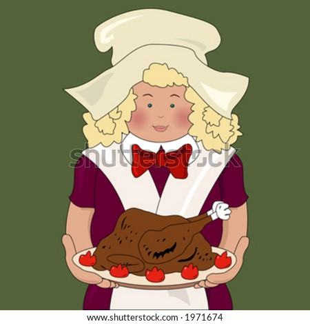 the cook bring the turkey for thanksgiving dinner - stock vector