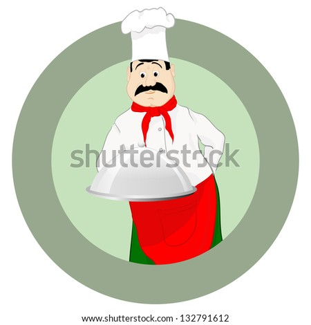The cook in a cap with a tray, a vector illustration, EPS10 - stock vector