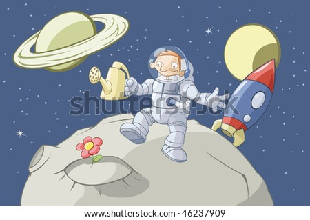 The cosmonaut has grown up a flower on a lifeless asteroid - stock vector