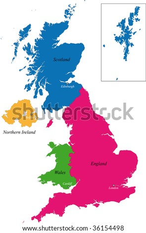 The countries of the United Kingdom and capital cities - stock vector