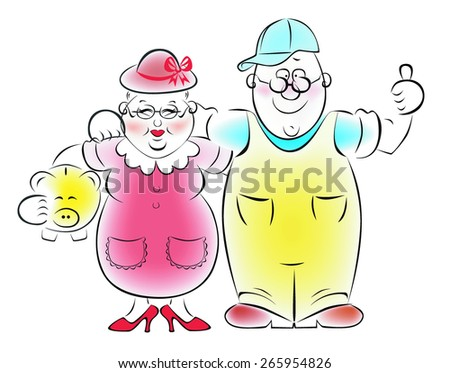The couple adulthood with piggy bank - stock vector