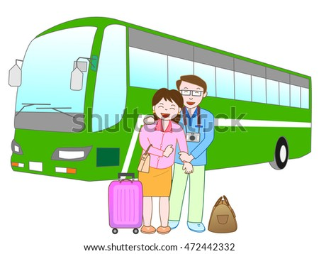 The couple who travels by bus.