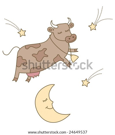 The cow jumped over the moon illustration. Perfect nursery rhyme illustration for kids or babies.