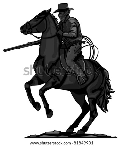 Cowboy silhouettes vector stock images royalty free for Cowboy silhouette tattoo