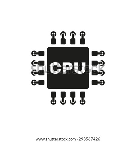 The cpu icon. Microprocessor and processor symbol. Flat Vector illustration - stock vector