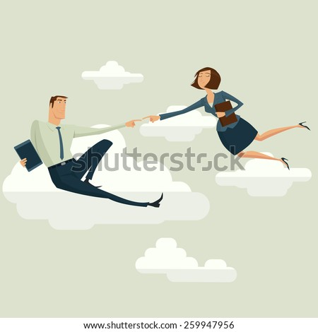 The Creation of Adam in business style vector illustration. - stock vector