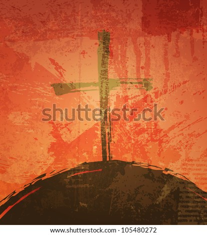The cross on the grunge background. The biblical concept. Sunset - stock vector