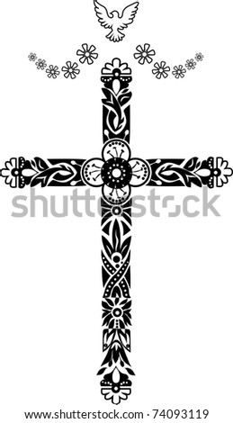 The Cross with pigeon. Doodle graphic.