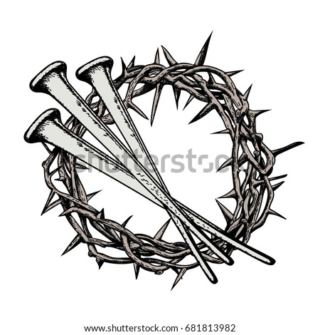Crown Thorns Nails Jesus Christ Symbols Stock Vector Royalty Free