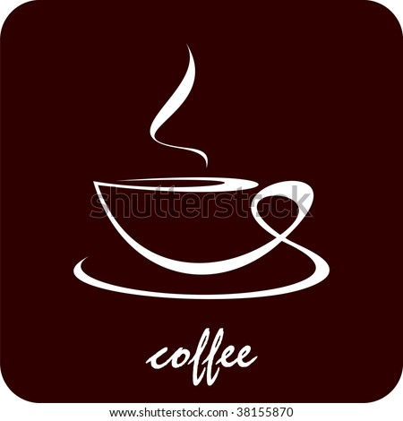 The cup of coffee on dark brown background - stylized image. Illustration can be used to design menu restaurant or cafe. - stock vector