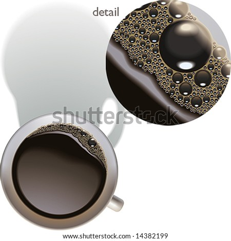 The cup of coffee with some froth on the surface. Vector illustration. - stock vector