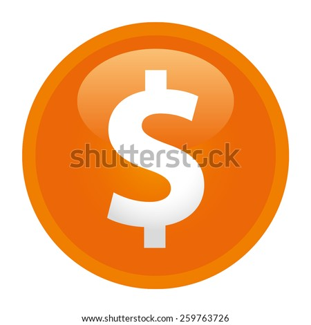 The currency sign of Dollar Badge, Label or Sticker, Orange - stock vector
