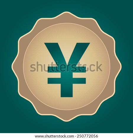 The currency sign of Japanese Yuan, Yen Badge, Label or Sticker, Green Background
