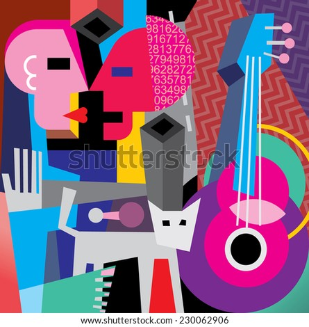 The Dance. Vector illustration with cat, old guitar and dancing couple. - stock vector