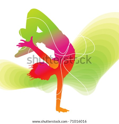 The dancer. Colorful silhouette with lines on abstract background. Vector illustration. - stock vector