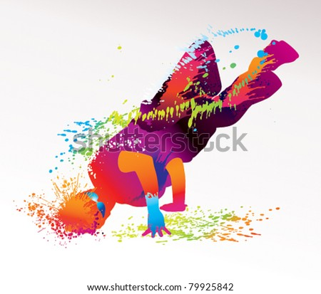 The dancing boy with colorful spots and splashes on a light background. Vector illustration. - stock vector