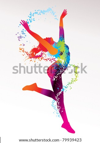 The dancing girl with colorful spots and splashes on a light background. Vector illustration. - stock vector