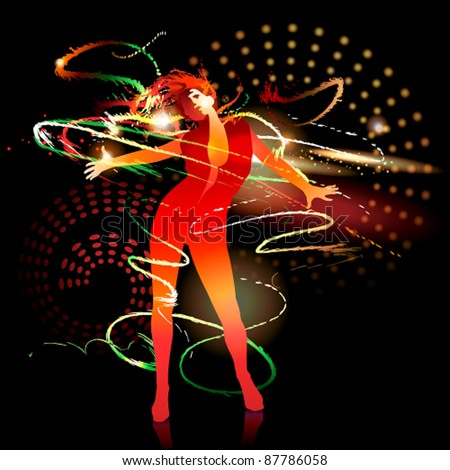 The dancing girl with shining splashes on a dark background. Vector illustration.