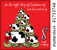 the 12 days of christmas - eight day - eight maids a-milking - stock photo