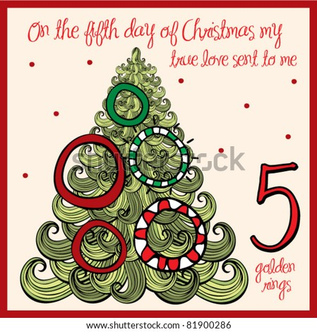 stock-vector-the-days-of-christmas-fifth-day-five-golden-rings ...
