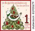 the 12 days of christmas - first day - a partridge in a pear tree - stock vector