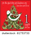 the 12 days of christmas - first day - a partridge in the pear tree - stock vector