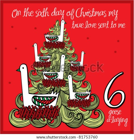 12 Days Christmas Sixth Day Six Stock Vector 81753760 - Shutterstock