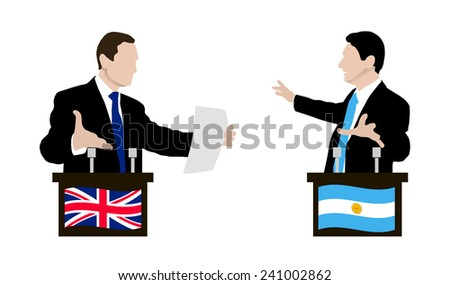 The debate between the speakers. Rhetoric, negotiations and disputes between the parties. Negotiations. Flag. Vector. Icon infograph,.  Argentina, United Kingdom - stock vector