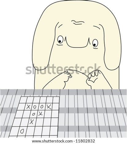 The decision of a problem. The little man (either elephant or dog) solves a problem. - stock vector