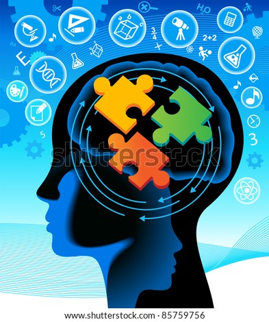 the decision of tasks in the process of studying the sciences - stock vector