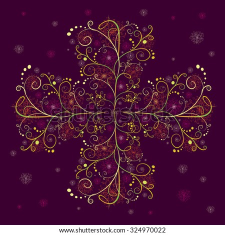 The decorative pattern in the form of cross on dark purple background - stock vector