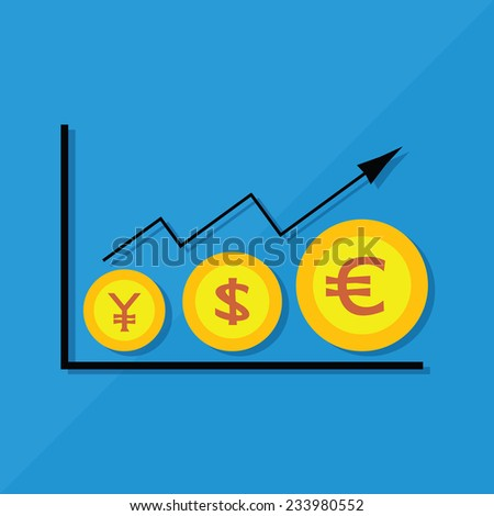 The descending sort coins Three medals , including Japan, USD and Euro. - stock vector