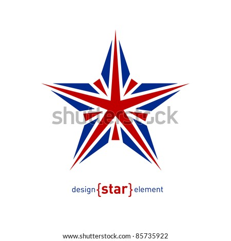 The Design element star with United Kingdom flag colors - stock vector