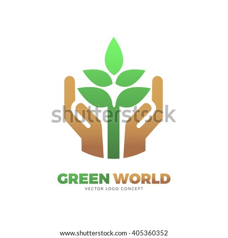 The design is suitable for all ecology related businesses, innovative materials and technologies, water, fresh food and nature. Hands holding Green leafs Eco icon. - stock vector