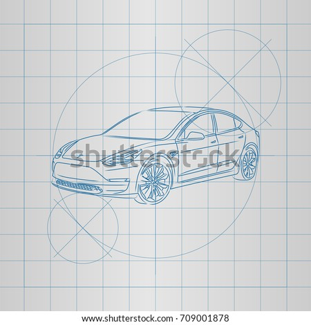 Design electric car drawing on blueprint stock photo photo vector the design of a electric car drawing on a blueprint vector illustration malvernweather Image collections