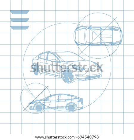 Design car drawing on blue background stock vector 2018 694540798 the design of the car drawing on a blue background white print vector illustration malvernweather Choice Image