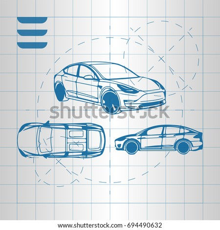 Design car drawing on white background stock vector 694490632 the design of the car drawing on a white background blue print vector illustration malvernweather Choice Image