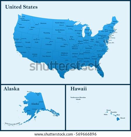 Detailed Map United States Including Alaska Stock Vector - Alaska us map