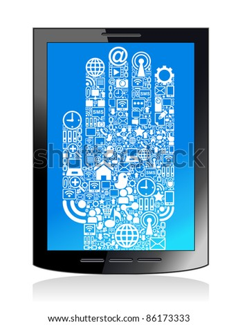 The development of global communications. Communication in mobile and internet networks - stock vector