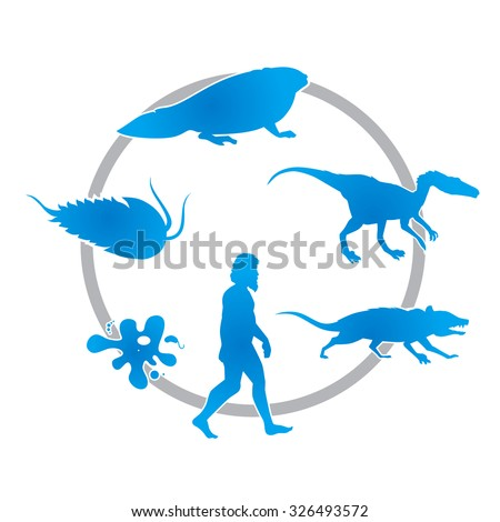 the development of life on earth - stock vector