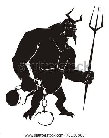 The devil holding a ball and chain, waiting for the sinner - Black Halloween vector cartoon illustration isolated on white - stock vector