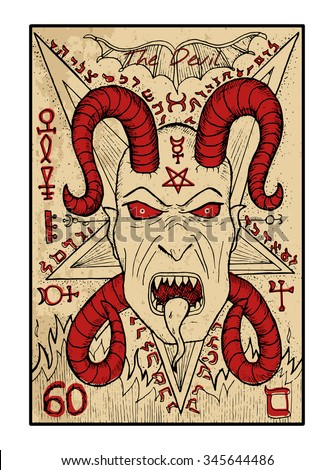 The devil.  The major arcana tarot card in color, vintage hand drawn engraved illustration with mystic symbols. Scary demon face with horns and fangs against pentagram background. Halloween image - stock vector