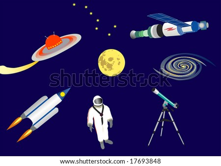 the different space illustrations - stock vector