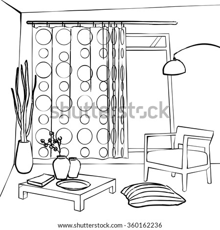 The Dining Room Curtains Simple Interior Sketch