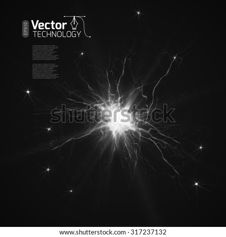 The discharge of electricity - stock vector
